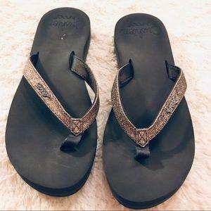 Reef Glitter Strap Star Cushion Sandals Size 8